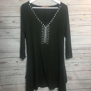Belldini Green Embellished Long Sleeve Dress M